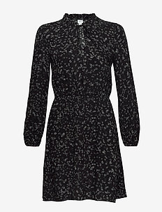 V-LS TIE NK DRESS - BLACK PRINT