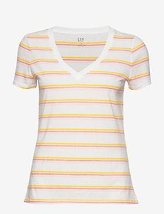Vintage Wash Stripe V-Neck T-Shirt - t-shirts à rayures - milk stripe