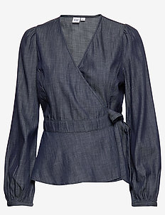 Blouson Sleeve Wrap Top in TENCEL™ - blouses à manches longues - rinse washed indigo