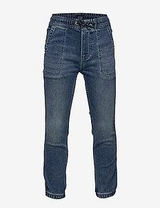 Kids Denim Joggers with Stretch - jeans - medium wash