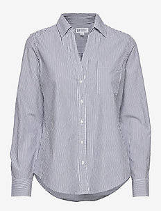 Perfect Shirt in Poplin - langærmede skjorter - blue pinstripe