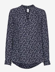 Print V-Neck Popover Shirt - blouses à manches longues - blue floral