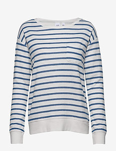 Soft Textured Stripe Sweatshirt - NAVY STRIPE
