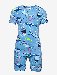 Kids Shark Short PJ Set - zestawy - oasis blue