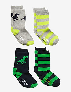 Toddler Dino Crew Socks (4-Pack) - MULTI