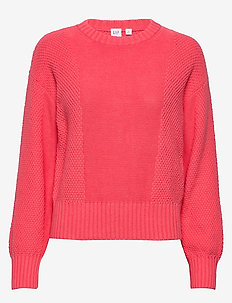 Mix-Stitch Crewneck Sweater - pulls - fresh coral