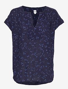 Print V-Neck Popover Top - blouses à manches courtes - navy floral