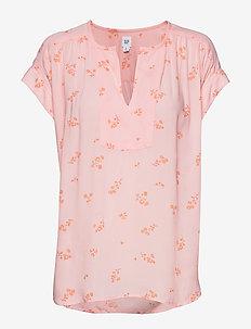 Print V-Neck Popover Top - blouses à manches courtes - pink floral