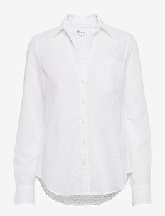 Eyelet Perfect Shirt - langærmede skjorter - optic white