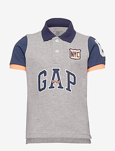 Kids Gap Logo Polo Shirt - LIGHT HEATHER GREY