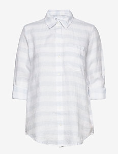 Boyfriend Shirt in Linen - langærmede skjorter - blue white stripe