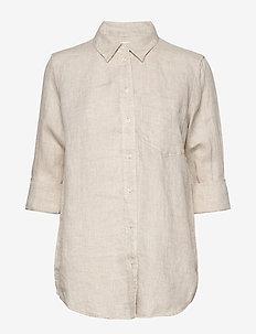Boyfriend Shirt in Linen - long-sleeved shirts - flax linen
