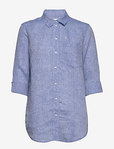 Boyfriend Shirt in Linen - langærmede skjorter - light blue