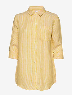Boyfriend Shirt in Linen - langærmede skjorter - yellow stripe