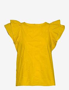 Ruffle Sleeve Top - kortärmade blusar - mustard