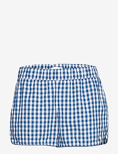 Print Poplin Shorts - NAVY GINGHAM