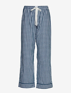 Relaxed Pajama Pants in Poplin - nederdelar - navy gingham