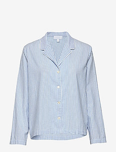 Pajama Shirt in Poplin - hauts - blue white stripe