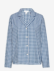 Pajama Shirt in Poplin - hauts - navy gingham