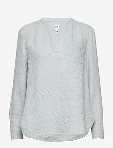 Gauzy Popover Shirt in Cotton - blouses à manches longues - mist blue