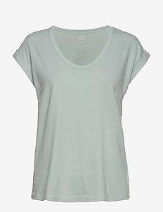 Relaxed Scoopneck T-Shirt - koszulki basic - mist blue