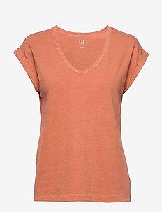 Relaxed Scoopneck T-Shirt - koszulki basic - tabasco 196