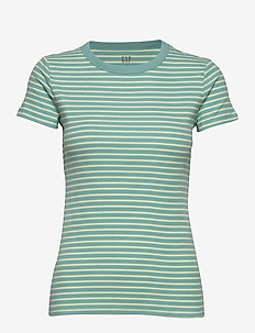 Ribbed Crewneck T-Shirt - t-shirts à rayures - green stripe-combo 11