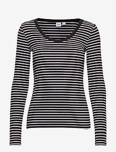 Stripe Scoopneck T-Shirt - t-shirts à rayures - black/white strp - j