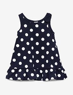 Toddler Tank Peplum Dress - kjoler - navy dot