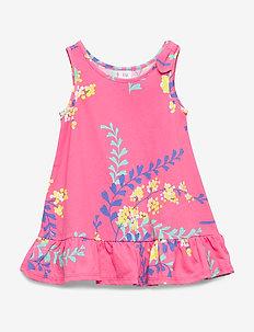 Toddler Tank Peplum Dress - kjoler - pink floral 1