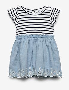 Toddler Stripe Chambray Mix-Media Dress - NAVY STRIPE