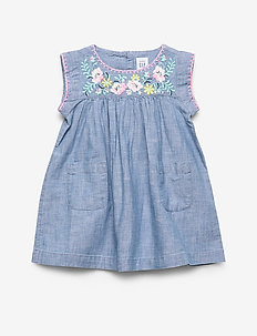 Toddler Embroidered Chambray Dress - BLUE CHAMBRAY