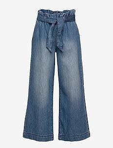 Kids High Rise Wide-Leg Crop Jeans - jeans - dark wash