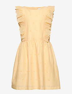 Kids Eyelet Ruffle Dress - sukienki - light yellow 649