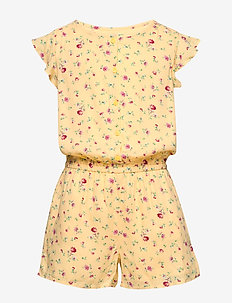 Kids Floral Romper - jumpsuits - light yellow 649