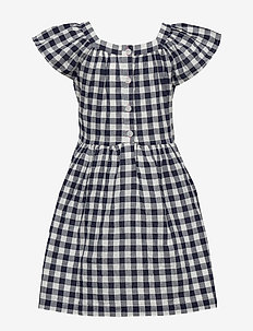 Kids Gingham Squareneck Dress - robes - navy uniform