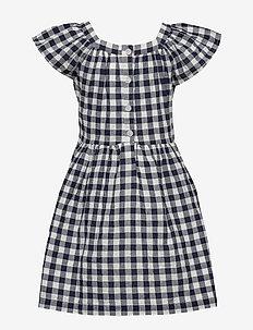 Kids Gingham Squareneck Dress - NAVY UNIFORM