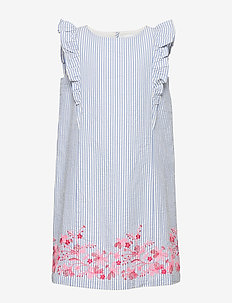 Kids Ruffle Floral Stripe Dress - sukienki - belle blue