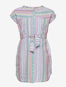 Kids Tie-Belt Shirtdress - MULTI STRIPE