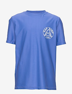 Kids Short Sleeve Rash Guard - logo - belle blue