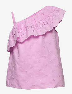 Kids Eyelet Ruffle Top - chemisiers & tuniques - lavender pink
