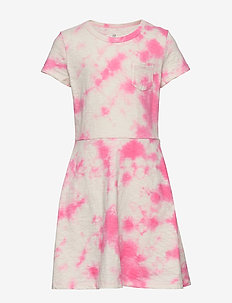 Kids Print Fit and Flare Dress - kjoler - pink tie dye