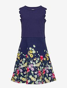 Kids Ponte Floral Dress - kjoler - navy uniform