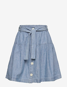 Kids Chambray Button-Front Skirt - jupes - blue chambray