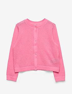 Kids Eyelet Cardi Sweater - cardigans - neon impulsive pink