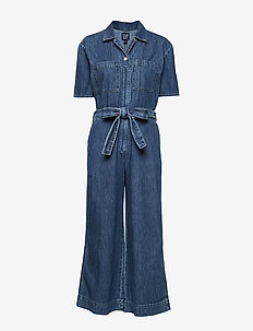 Utility Tie-Belt Jumpsuit - MEDIUM INDIGO