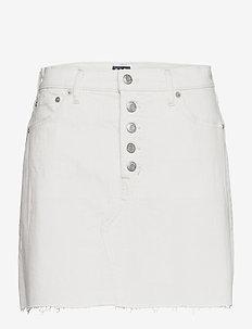 High Rise Denim Skirt with Washwell™ - jeanskjolar - ecru