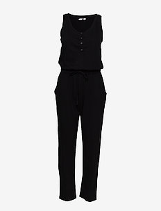 Henley Knit Jumpsuit - kombinezony - true black v2