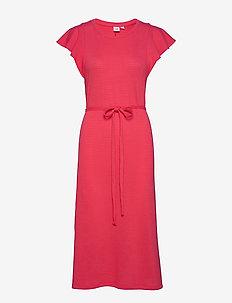 Flutter Sleeve Midi Dress - do kolan & midi sukienki - rose bush 1
