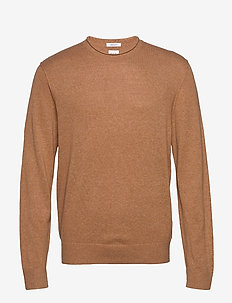 Crewneck Sweater in Linen-Cotton - basic-strickmode - classic camel